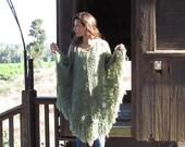 Green Womens Poncho, Olive Knit Poncho, Wool Womens Shawl