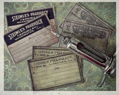 SALE - Antiquated Pharmacy Sticker Labels - Set of 3