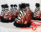 CUSTOM LISTING For: Heather Rocker Birthday Hats Red and Zebra Print with Rhinestones, Black Marabou Feathers, Tulle and Red Guitar