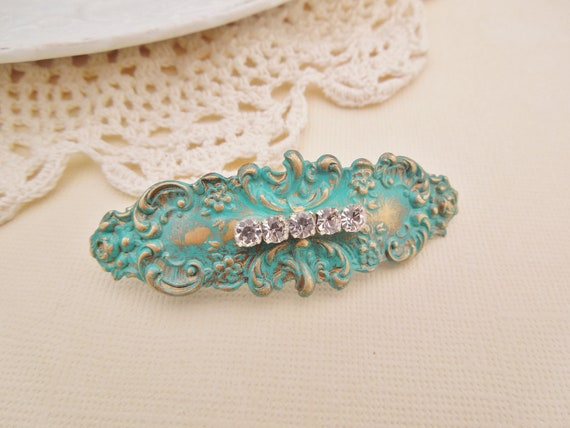 Verdigris Patina Bar Hair Clip - Vintage Brass Stamping - Hand-Patina with Vintage Rhinestones, Bridal, Shabby Chic