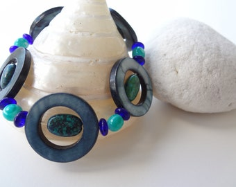 HU'A-- Stretch Blue-Green Bubble Bracelet