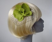 Lime Green Flower Hair Comb- Lime Orchid Hair Comb (Black)