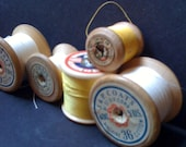 Vintage bobbins spools yellow instant collection