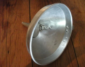 ANTIQUE METAL FUNNEL, strainer, canning, bottling. kitchen, utensil, 1940s Portuguese Vintage