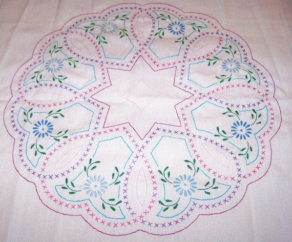 6 Hand embroidered heart floral wreath quilt block pieces