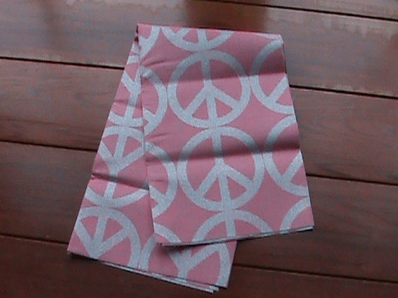 SALE 18x21 inch Peace Sign Fabric. Pink with Metallic threading Fat Quarter