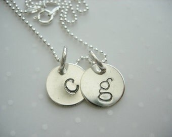 Sterling Silver Hand Stamped Mother's Initial Charm Necklace