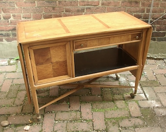 Vintage 1960's drop leaf buffet server, dining room furniture, mid century modern, Pittsburgh furniture, serving cart