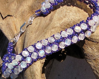"7 1/4""  Purple and White Bracelet - Seed Bead and Crystal Bracelet - 7.25 Inch Beaded Bracelet"