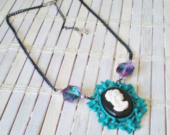 Upcycled Vintage Teal Cameo Necklace Peacock Crystals & Black Chains