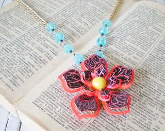 Orange Black Blue Flower Power Necklace, Convertible Brooch Pendant, Upcycled Vintage, One of a Kind