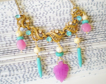 Pink Blue Gold Statement Necklace, Eco Friendly, Upcycled Vintage, Turquoise Candy Jade Magnesite, Beaded Bib, Retro chic, OOAK