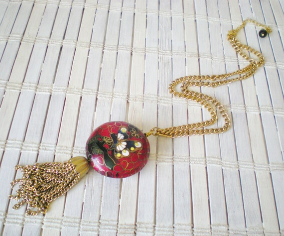Red & Gold Butterfly Cloisonne Necklace