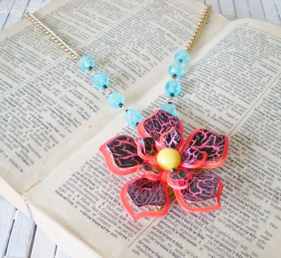 Orange Black and Blue Flower Power Necklace / Convertible Pendant / Upcycled Vintage
