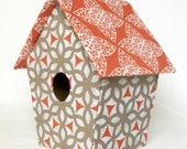 Modern fabric birdhouse in orange, brown and khaki