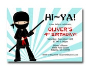 Printable Boy Ninja Birthday Invitation