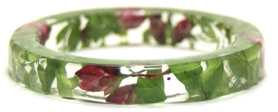 Flower Resin Bangle- Flower Jewelry- Real Flowers- Flower Bracelet- Green Bracelet - Pink Flowers- Green Bangle-Resin Jewelry-