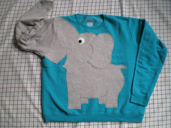 Elephant Trunk sleeve sweatshirt sweater jumper LADiES L PEACOCK Blue