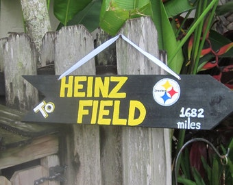 To HEINZ FIELD - Pittsburg Steelsers Directional Arrow Sign with Your Mileage to The STEELERS Heinz Field