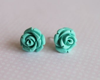 Dyed Coral 925 Sterling Silver Stud Earrings. Mint Roses Post Earrings. Flower Earrings.