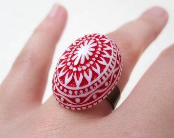 Red Mosaic Ring - Boho Chic Ring