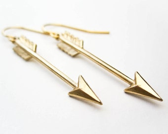 Arrow Earrings - Golden Arrow - Boho Jewelry - Arrow Jewelry - Modern Brass Jewelry - Cupid's Arrow
