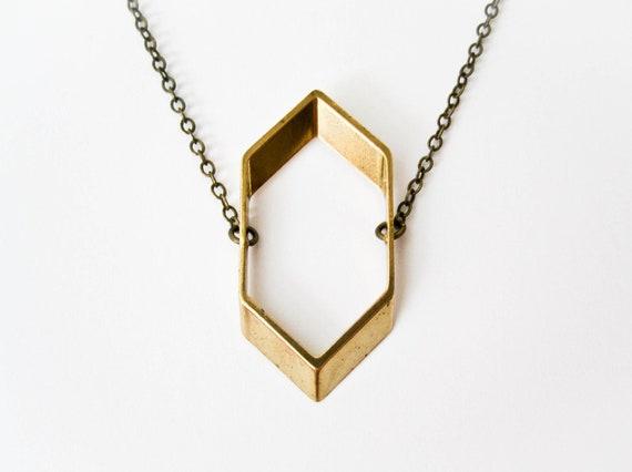 Hexagon Geometric Necklace - Geometric Jewelry - Vintage Brass - Boho Necklace - Minimalist Jewelry - Geometric -  Brass Jewelry