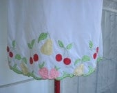 vintage slip 1950s white with fruit trim pin up rockabilly burlesque