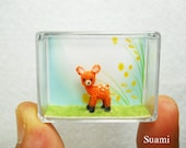 Ultratiny Fawn Deer - Teeny Tiny Crocheted Orange Fawn Deer - Made To Order