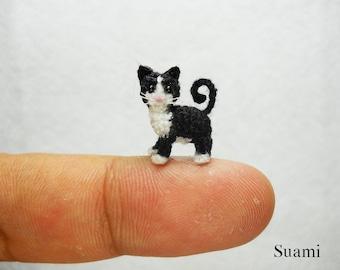 0.5 Inch Tuxedo Cat Kitten -  Micro Amigurumi White Black Cat Stuffed Animal - Made to Order