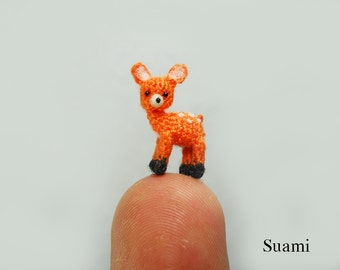 Extreme Micro Fawn Deer 1/2 Inch - Tiny Miniature Crochet Amigurumi Deers - Made To Order