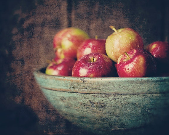 Autumn Decor, Fall Decor, Autumn Kitchen Decor, Rustic Kitchen Art, Apples, Brown Red Teal, Farmhouse Kitchen Art, Country Kitchen.