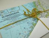 stationery set: antique map of Scandinavia, 1963