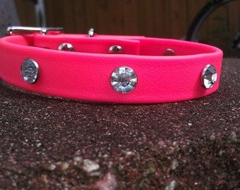 Biothane Dog Collar - Hypoallergenic - Pink Collar with Red, Blue, Clear, Amber, Pink, Opal or Purple Bling