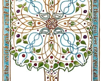 "Celtic Blessing Tree - A4 ""May you have"" print"