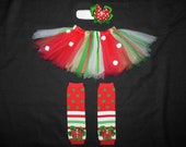 "Christmas tutu set ""Little Elf"" custom made any size Newborn-4T"