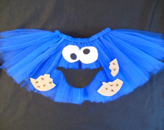 Cookie Monster tutu, custom made from size Newborn to 4t