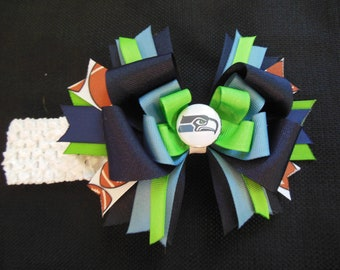 Seattle Seahawks inspired boutique bow with free crochet headband