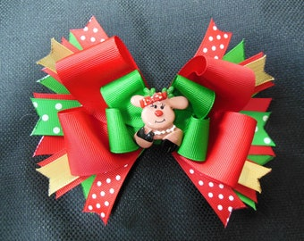 Little Miss Reindeer bow, large 5 inch Christmas bow