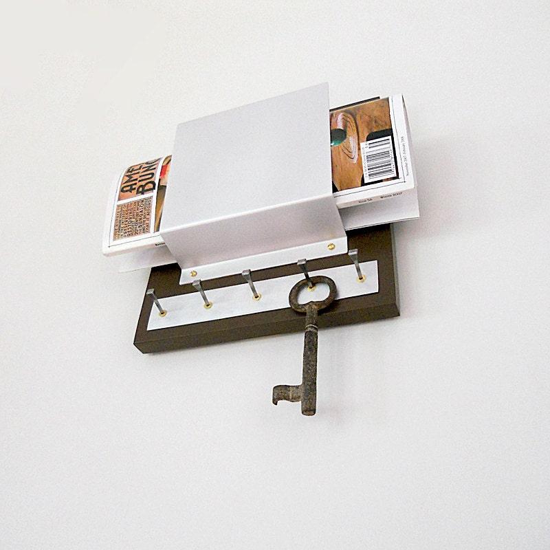Alder mail holder key rack modern brown wall by pigandfish on etsy - Mail holder and key rack ...