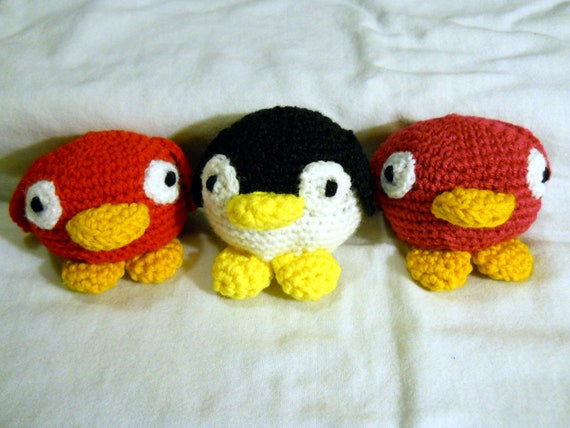 Penguin or Bird Rattle, Pink or Red, crochet