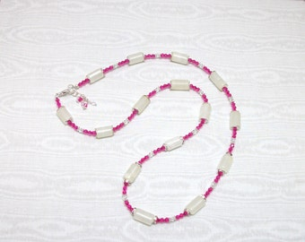 Pink Crystal Necklace White Stone Necklace Long stone and Crystal Necklace