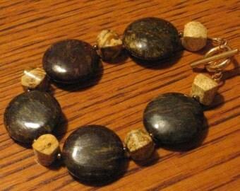 Bronzite and Picture Jasper Bracelet (B1058)