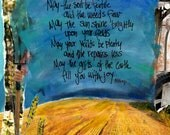 FARMERS BLESSING  A Card for Farmers, Ranchers, Inspirataional Card,  Mixed Media Art Card,  Farmers Gift , by Seattle Artist Mary Klump