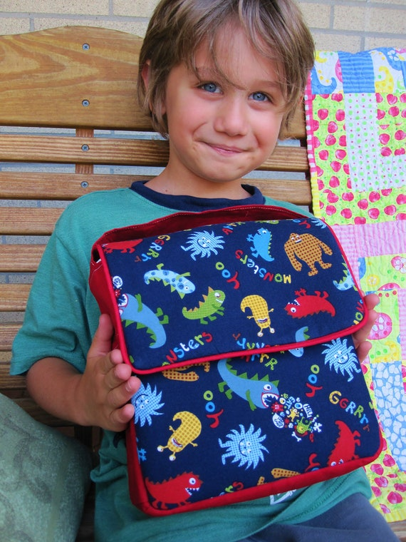 READY to SHIP Insulated Lunch Tote- School size- Monsters