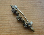 Victorian bar pin with hand cut paste stones ca 1880