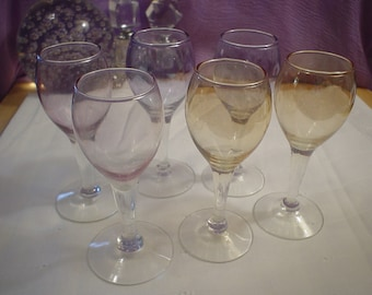 6 Vintage Tinted Small Cordial Stem Glasses, Glasses, Stemware, Victorian, Shabby Chic, Contemporary, Bohemian, Eclectic, Elegant, Antique