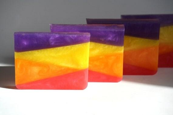 Layering glycerin geometric math soap, yellow orange purple pink, honeysuckle scent, fun, teenager, gift for her, modern