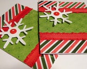 Christmas Card Red and Green Snowflake  (2)