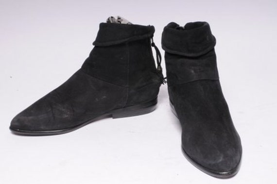 Black Suede Zipper Boot Woman's By Buskens Size 5.5
